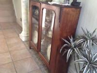 Antique Soft Wood Cabinet with Mahogany Doors
