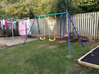 Double Swing Set and Seesaw