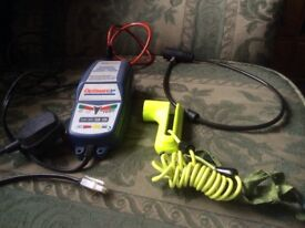 Motorbike Battery Charger and Locks. Optimate 3+