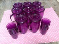 8 Purple plastic jugs, suit a party plus 12 matching tumblers