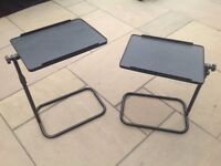 TWO REALLY USEFUL Adjustable Swivel Over Bed/Chair or Sofa Tilting Table