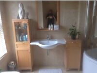 Bargain Two Floor Standing Bathroom Units And Mirror, Matching Set DOES NOT INCLUDE SINK