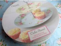 NEW Next Porcelain, Floral Country Cottage Floral Shabby Chic 2 Tier Cake Stand