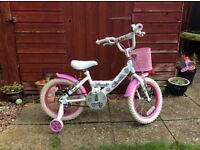 Girl's Sparkle Bike with stabilisers 14 inch- used suit 4-5 year old