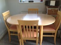 Extending Circular Kitchen Table and 4 chairs,