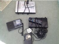 Selection of mini cassette player, radio, free view box and digibox