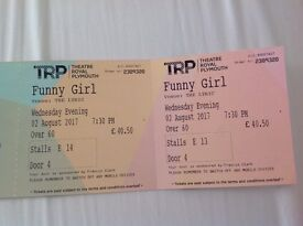 2 Over 60 Stall Seats, Row E, evening performance, Funny Girl, Theatre Royal Plymouth, 2nd August