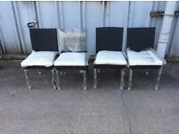 4 Black Rattan Dining Chairs With Cushions- NEW - £99 Inc Free Local Delivery