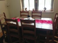 DINING TABLE + 6 CHAIRS DARKER PINE FINISH