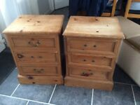 Set of 2 solid pine bedside drawers