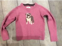 Joules Pure Wool/Vicuña Dog Print/dusky pink Jumper- Girls. Bought for £28- selling for £7