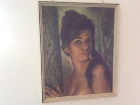 J H Lynch mid century Original Tina print 25 inch 1960s retro vintage 60s painting picture