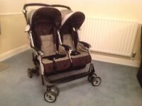 Mamas and Papas Twin Aria Double Buggy and Two Brand New Footmuffs