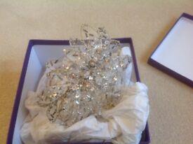 Aurora Designs crystal, silver and gold leaf headpiece