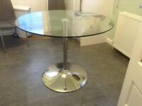 John Lewis Glass table and 4Leather Grey Chairs as new