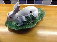 China Rabbit tureen and cabbage type plate