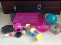 Dwarf Hamster Cage (Medium) 48cm x 34cm + Ball, Wheel, House, Bowl, Drink Bottle, See Saw/Tunnel