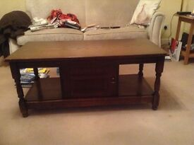 Dark Stained Oak Coffee Table For Sale