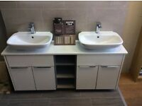 Ex display 1500 double basin units rhoper Rhodes gloss white