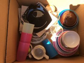 Assortment of kitchen ware, glasses, beakers, Etc.
