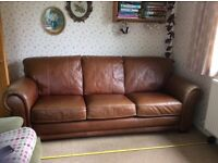 """Leather sofa 86"""" long. Excellent condition, good quality from Vincent Davies. Too large for room."""