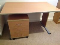 Office desk with matching 3 drawer pedestal in beech effect