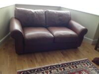 Settee - brown leather, seats two, excellent condition