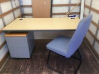 Table desk chair and cabinet