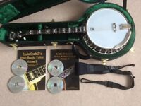 Deering Eagle II - 19 Fret Tenor Banjo with Hard Case, Books with CDs and Neotech Strap,