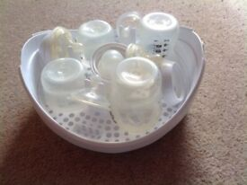 Tommee tippee microwave steriliser plus bottles