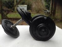 2 x 15kg World of Health Cast Iron Dumbbell Weights