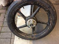 Yamaha motorcycle wheel and tyre.