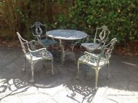 GARDEN FURNITURE VICTORIAN STYLE TABLE AND CHAIRS