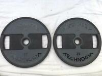 4 x 20kg Technogym Dual-Grip Rubber Olympic Weights