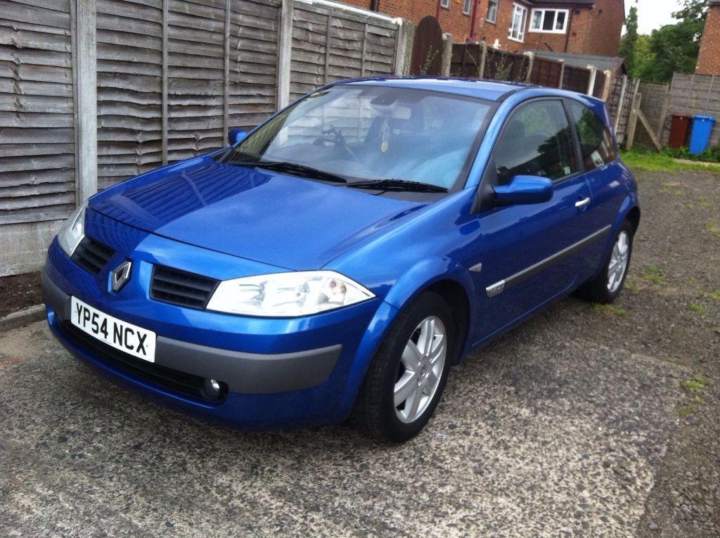 2004    54 Renault Megane 1 4 Dynamique 16v Blue 3 Door Hatchback With Full Service History