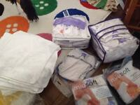 Reuseable bambino mil nappies, covers, liners, terry towels.