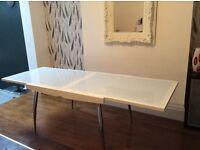 Calligaris white, glass & chrome extending table