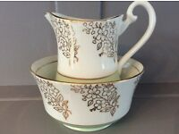 Phoenix Bone China Milk Jug and Sugar Bowl, White, Green and Gold.