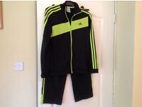Adidas track suit, black/ yellow age 11 yrs