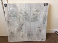NEXT HOME SILVER 3D CANVAS BIRDS PICTURE NEW