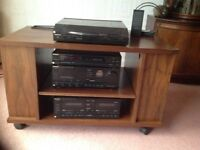 Technics hi fi stereo stack system, speakers, remote control, stand, vinyls and cassette tapes.
