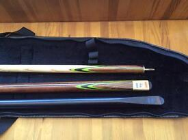 Snooker cue 3 piece with case