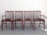 Teak Dining chairs x 4 Lovely velvet upholstery 1930/1970 style. Elegant made with wooden pin joints