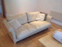 Beautiful sofa for sale -cream leather - 3 seater - house clearance - pickup only