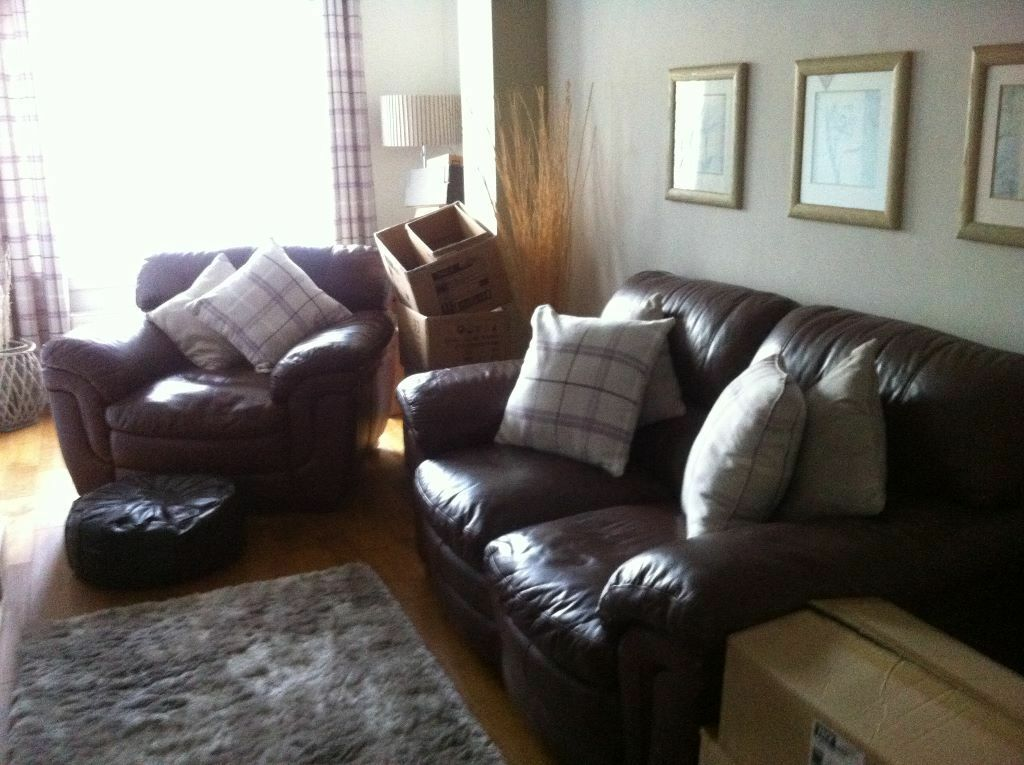 Brown Leather Sofa And Chair 5 Scatter Cushions In Ayr