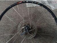 "26"" alexrims mountain bike rear wheel, disk brake, 9 sp cassette, quick release"