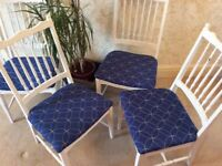 shabby chic/ French design 4 blue and White dining chairs
