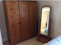 Pine Bedroom Suite with 3 door wardrope
