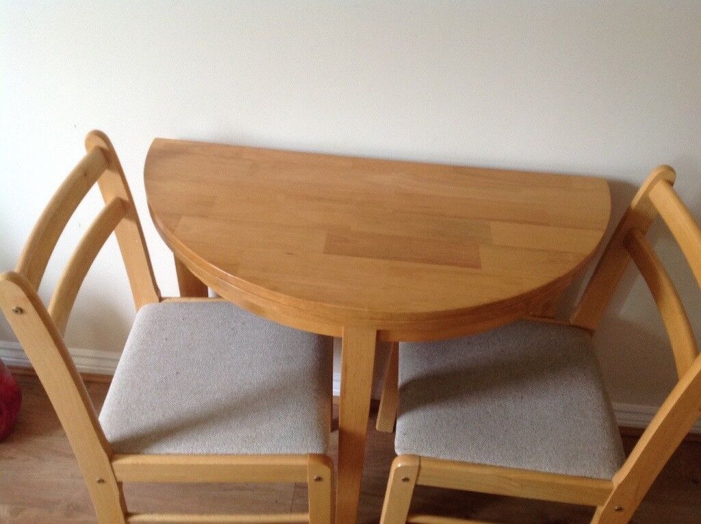 Round Table Two Chairs Folds Half To Stand Against The Wall Good Condition