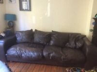 Brown leather 4 seater sofa shabby chic